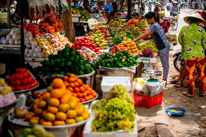 Рынок продуктов в Камбодже