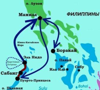 Карта республики Филиппины с маршрутом
